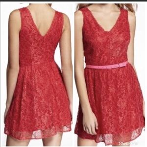 Red Lace Express Skater Dress